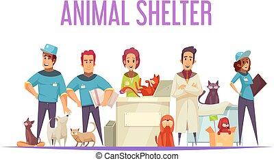 animal, composición, refugio