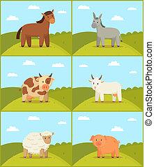 Animal de granja en escenarios de ilustración de fondo