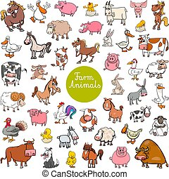 animal, grande, caricatura, conjunto, granja, caracteres