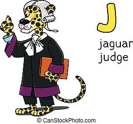 animal, jaguar, j, juez, profesiones, alfabeto, abc