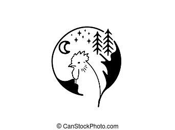 animal, negro, único, diseño, línea, oso, tema, arte