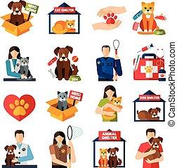 animal, refugio, iconos, conjunto