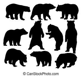 Animal salvaje, siluetas de oso