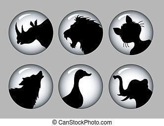 Animal siluetas 1 negro y blanco