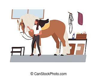 animal., vector, pet., stable., horsewoman, cuidado, mare., mirar, joven, ilustración, equestrienne, plano, caricatura, caballo, toma, jinete, doméstico, después, estilo, mujer, purebred