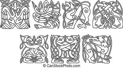 Animales apáticos abstractos y patrones de aves