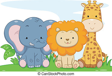 animales bebé, safari