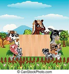 Animales con una placa de madera en blanco