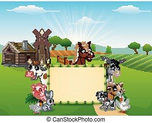 Animales de dibujos animados con una señal en blanco