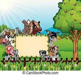 Animales de granja con un letrero en blanco