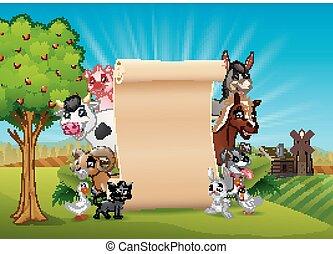 Animales de granja con un papel en blanco