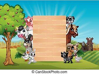Animales de granja con una madera en blanco