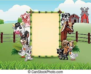 Animales de granja con una señal de bambú en blanco