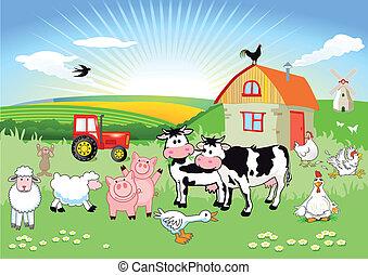 Animales de granja de cartón