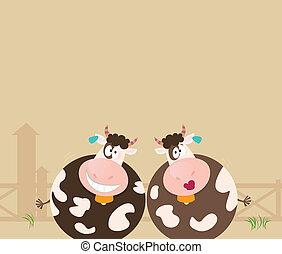 Animales de granja: dos vacas felices