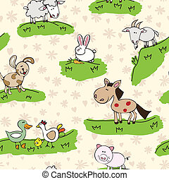 Animales de granja en la hierba