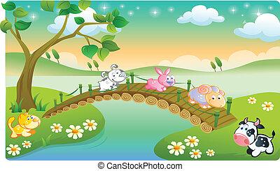 Animales de granja jugando
