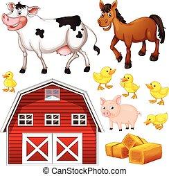 Animales de granja y granero