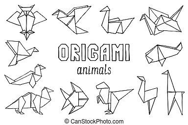 Animales de origami dibujados a mano