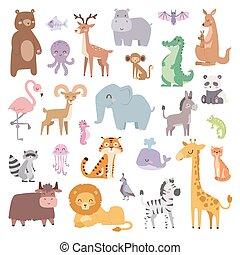 Animales de zoológico de dibujos animados de mamíferos silvestres ilustran vectores planos.