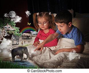 Animales en la cama con niños
