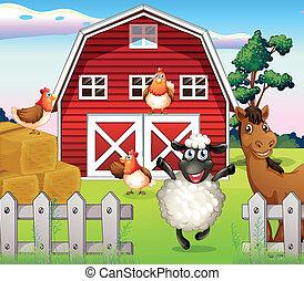 Animales en la granja con un establo
