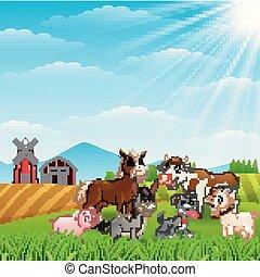 Animales felices en el fondo de granja