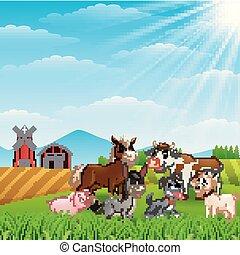 Animales felices en la granja a la luz del día