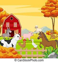 animales, granja, fondo., paisaje