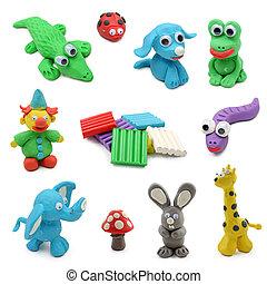 Animales hechos de arcilla para niños