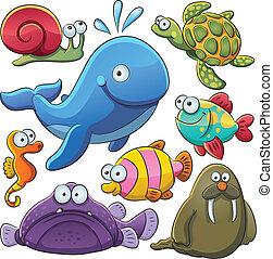 animales, mar, colección