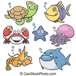animales, mar