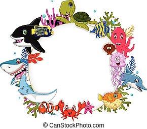 Animales marinos de dibujos animados con señales en blanco