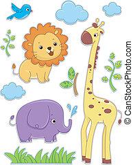 Animales Safari diseños de etiqueta