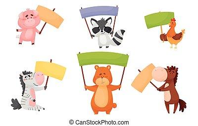 animales, señal, vector, banderas, blanco, tenencia, conjunto, tablas, su, miembros