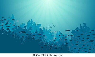 animales, submarino, océano, vector, ilustración, mundo