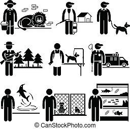 animales, trabajos, carreras, ocupaciones