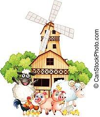 Animales y molinos de viento