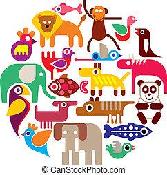 animales, zoo, -, vector, redondo