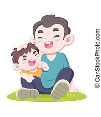 ans, ilustración, caricatura, hijo, padre