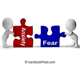 ansiedad, medios, rompecabezas, ansioso, asustado, miedo