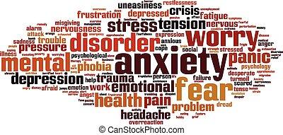 ansiedad, palabra, nube