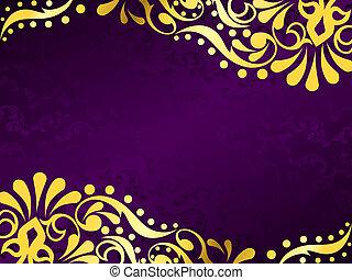 Antecedente púrpura con filigrana de oro, horizontal