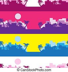 Antecedentes abstractos de rayas coloreadas con una silueta de Palma al sol. Imágenes de vector. Eps 10