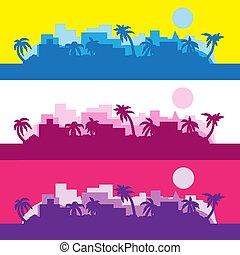 Antecedentes abstractos de rayas de colores con una silueta de Palma al sol. Imágenes de vector. Eps 10