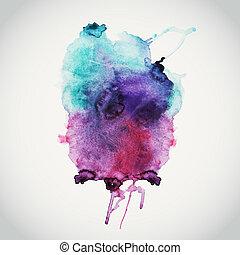 Antecedentes acuarela dibujados a mano, ilustración de vectores, manchas de colores mojados en papel mojado. Composición acuarela para elementos de álbumes con espacio vacío para mensajes de texto.