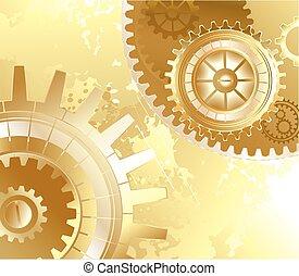 Antecedentes antiguos con engranajes de oro