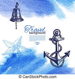 Antecedentes antiguos de viaje. Diseño náutico marino. Dibujo a mano y ilustración acuática
