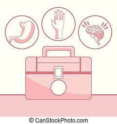 Antecedentes blancos con secciones de color rojo de silueta primeros kits y iconos salud en cuadro circular