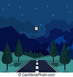 Antecedentes coloridos de paisaje natural con autopista en la noche